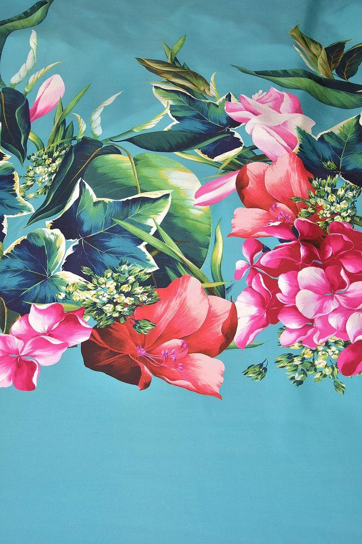 Купить Шелк плотный купонный принт на голубом фоне крупные тропические цветы (4212) в интернет-магазине AltaModa бутик итальянских тканей по доступной цене.