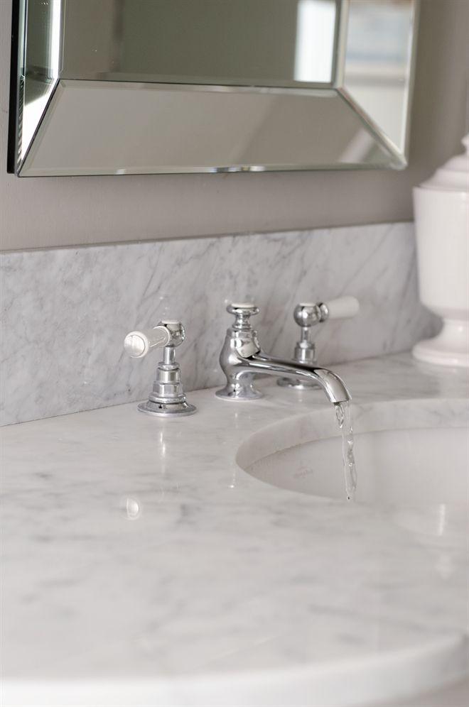 Neptune Bathroom Taps - Neptune White Lever 3 Hole Sink Tap With Puw