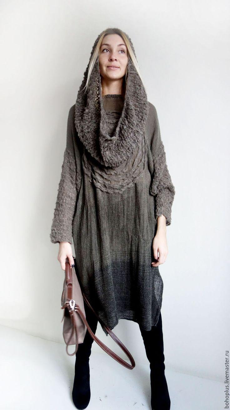 """Купить Платье в стиле бохо """"Дания 7"""" - коричневый, однотонный, платье, платье бохо"""