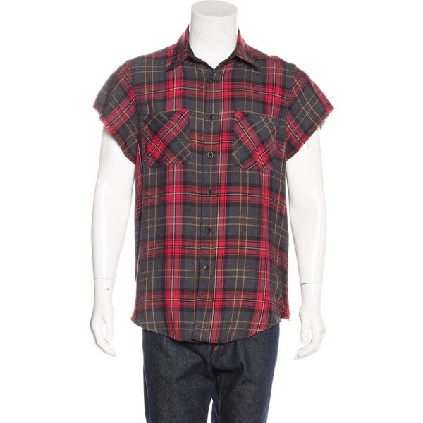 Pre-owned Fear Of God Plaid Flannel Shirt ($395) ❤ liked on Polyvore featuring men's fashion, men's clothing, men's shirts, men's casual shirts, red, mens red plaid shirt, mens short sleeve plaid shirts, mens plaid shirts, mens casual long sleeve shirts and mens cut off flannel shirt