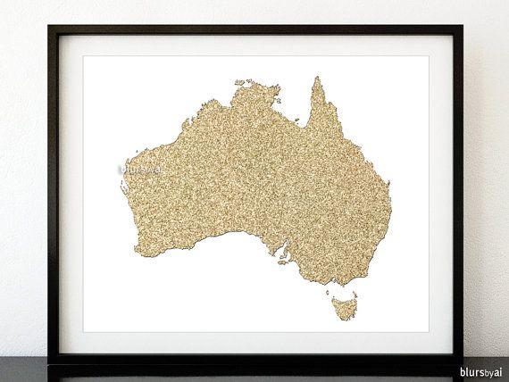 Australia map, golden glitter map print