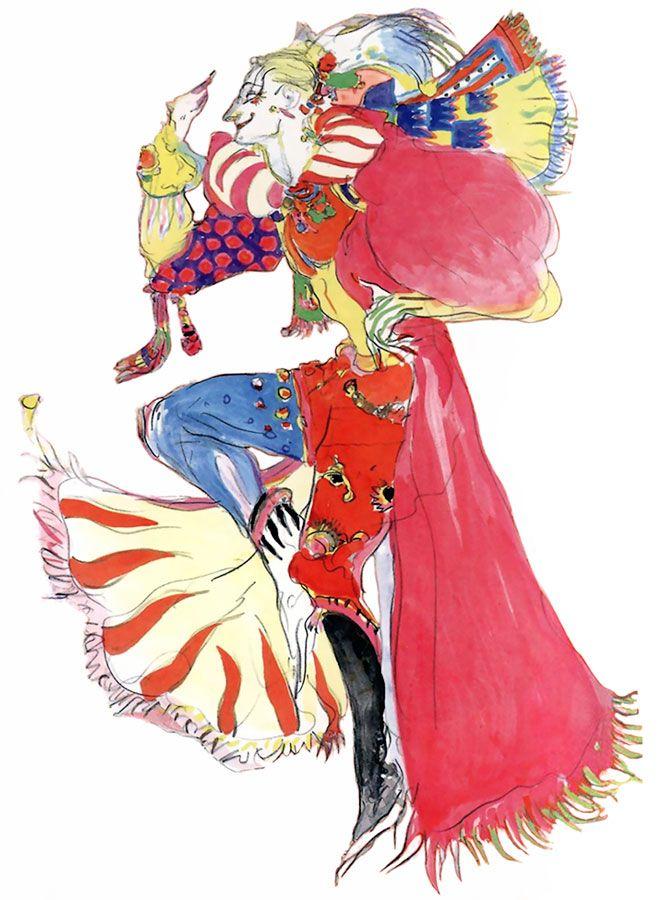Kefka Palazzo from Final Fantasy VI as drawn by Yoshitaka Amano.