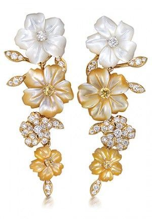 PRIMAVERA EARRINGS by Padani | Gold with white and yellow mother-of-pearl…