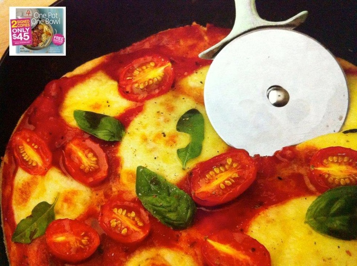 Deep Pan Pizza - 4 Ingredients ONE POT ONE BOWL - A base made with just 3 ingredients; self rising flour, veggie oil and water ... and it's AMAZING!