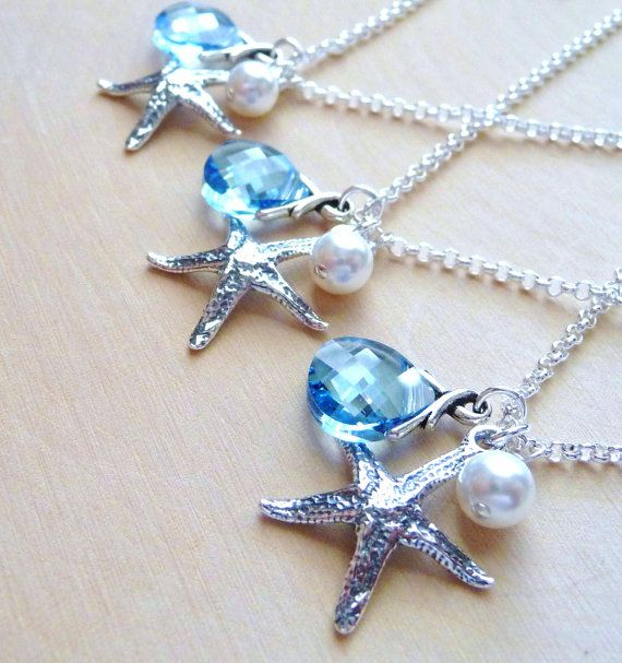 Bridesmaid Necklace Gift Set, Gift Set of Three (3) Starfish, Pearl, Swarovski Crystal Charm Necklaces, Bridal Wedding Jewelry, Ocean Blue
