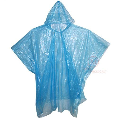 "Pack of 10 Disposable Rain Ponchos with Hood, Blue - These disposable rain ponchos are lightweight, economical, and come folded to 4.75"" by 3.5"" so they are small enough to fit in a purse, glove box, and most first aid kits. The 50"" wide by 40"" tall poncho constructed from polyethylene material and contains no natural latex. Multi-packs of this pro..."