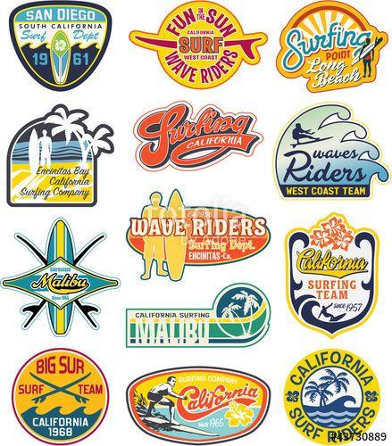 """Téléchargez le fichier vectoriel libre de droits """"California vintage stickers collection"""" créé par PrintingSociety au meilleur prix sur Fotolia.com. Parcourez notre banque d'images en ligne et trouvez l'illustration parfaite pour vos projets marketing !"""
