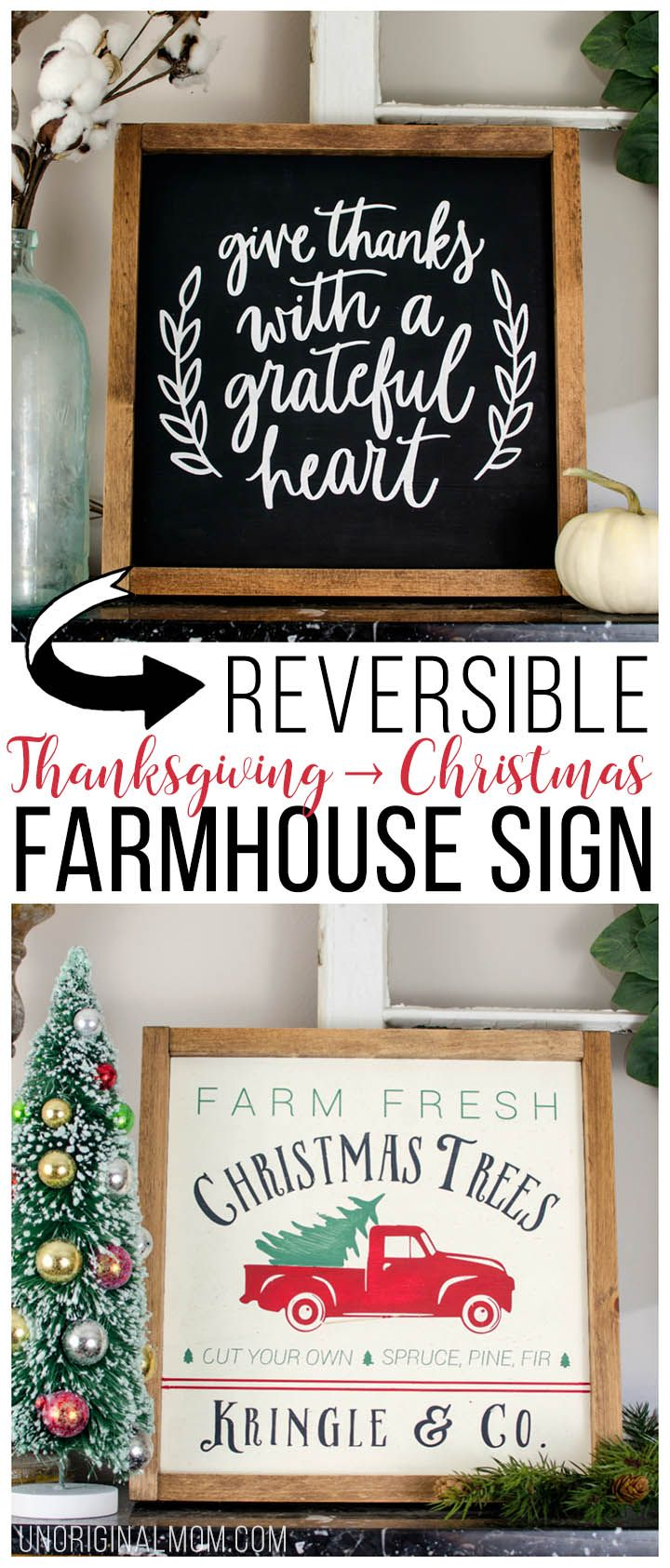 Reversible Thanksgiving and Christmas Farmhouse Sign - unOriginal Mom