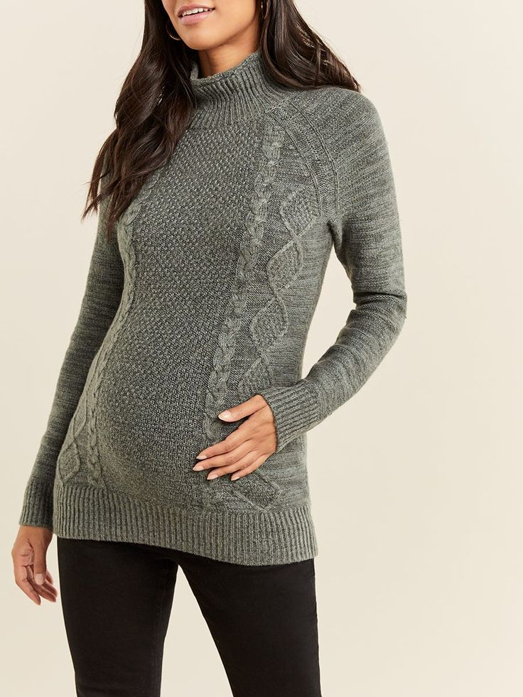 MockNeck Cable Knit Maternity Sweater Cable knit
