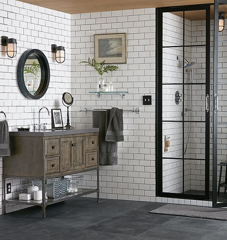 Perfect floor tile (slate) Floor-to-ceiling subway tile Roomy walk-in shower Large vanity (different style, please!)