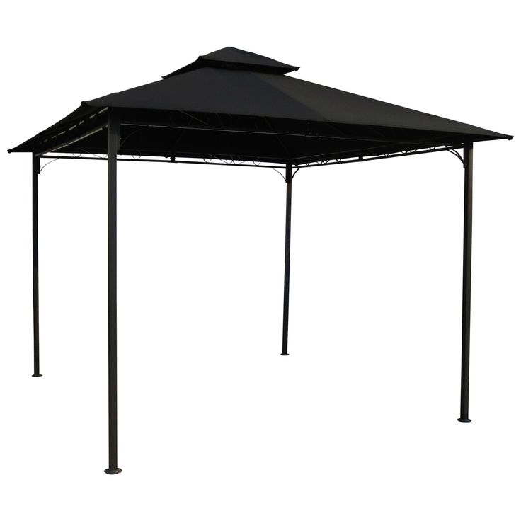 10 Ft X 10 Ft Outdoor Gazebo With Black Weather Resistant Fabric Canopy