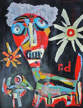 Richard Denny Afro Dog Meets the Bird - 2013 Acrylic and vintage maps on paper 67 x 87cm (framed)