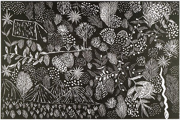 "Katie Petyarre  Australia  Language group   Anmatyerre, Central Desert region b. Utopia 1960  Untitled 1990  from the series The Utopia Suite woodcut edition 3/20 30 x 44.9cm Signed and dated l.r., pencil ""KATY PETYARRE 1990"" Art Gallery of NSW Collection 