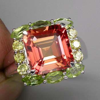 6 Ct Padparadsha Sapphire and Peridot and Yellow Sapphire Ring
