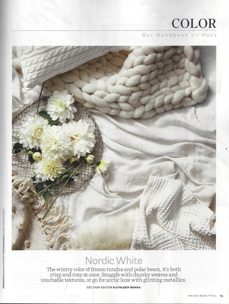 White Knit Laura Ashley Pillow in House Beautiful Magazine