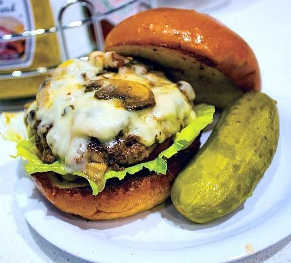 All Month Long: Celebrate National Burger Day at Brightside Breakfast and Burgers at the Plaza Hotel & Casino (Pictured: Mushroom Swiss Burger).