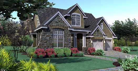 Cottage Style House Plans - 2143 Square Foot Home , 2 Story, 4 Bedroom and 2 Bath, 2 Garage Stalls by Monster House Plans - Plan 61-104