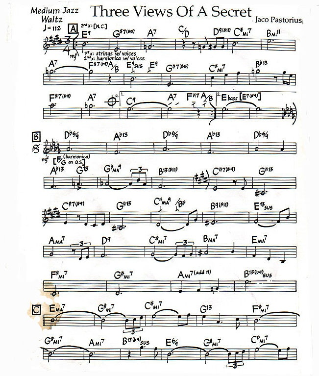"""Canon In D Pachelbel Jazz Version For Piano Solo Sheet: Lead Sheet For """"Three Views Of A Secret"""" By Jaco Pastorius"""