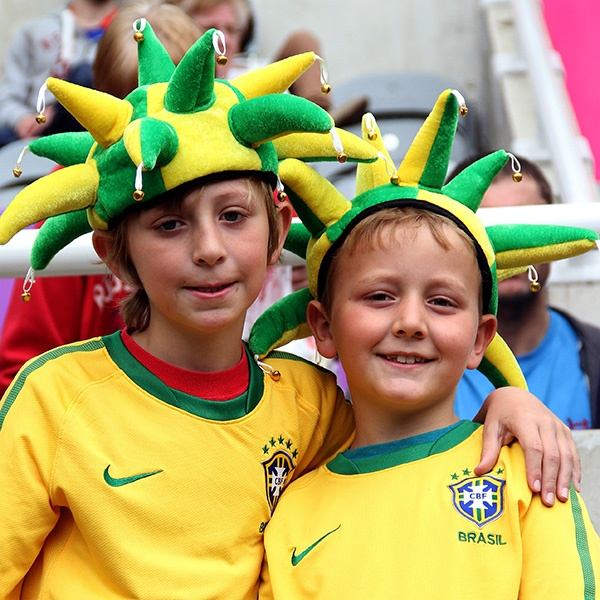 Brazilian fans during the Men's Football first round Group C match between Brazil and New Zealand on Day 5. (Photo by Stanley Chou/Getty Images)