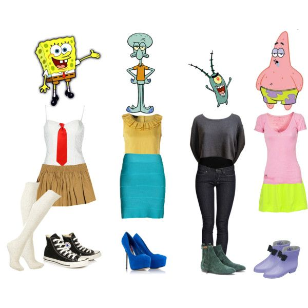 Spongebob Squarepant's character outfits by arianagrandeanon127 on Polyvore featuring art