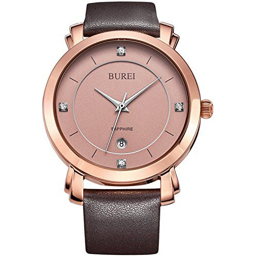 BUREI Women's Date Rose Gold Watch with Genuine Leather Band