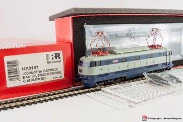 RIVAROSSI HR2187 - H0 1:87 - Locomotiva Elettrica E 444 105 stato origine baffo blu