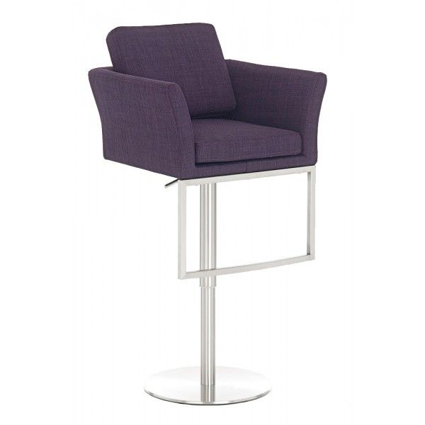 Verstelbare design barkruk - Paarse stof - RVS - DesignOnline24
