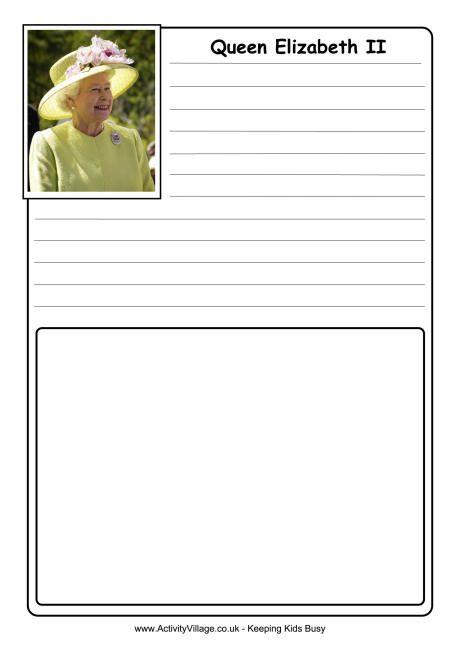 Elizabeth II notebooking page
