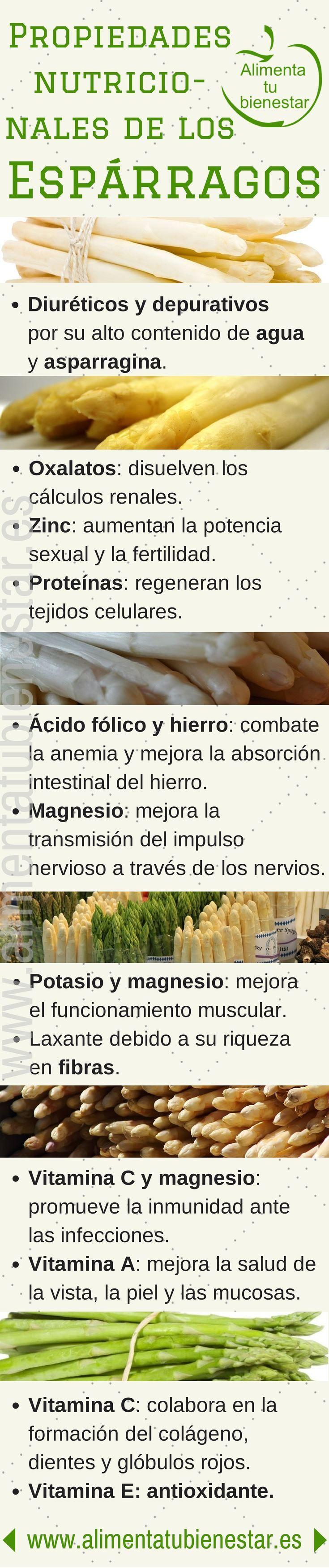 Verduras depurativas #infografia propiedades nutricionales de los #esparragos