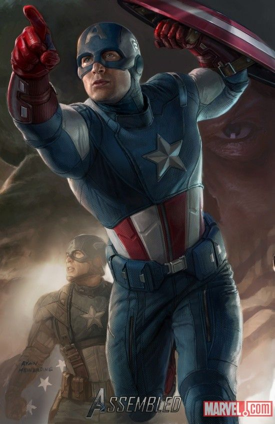 Captain America's new Avenger duds, nice!  I'm partial to the WW II suit, but who cares.