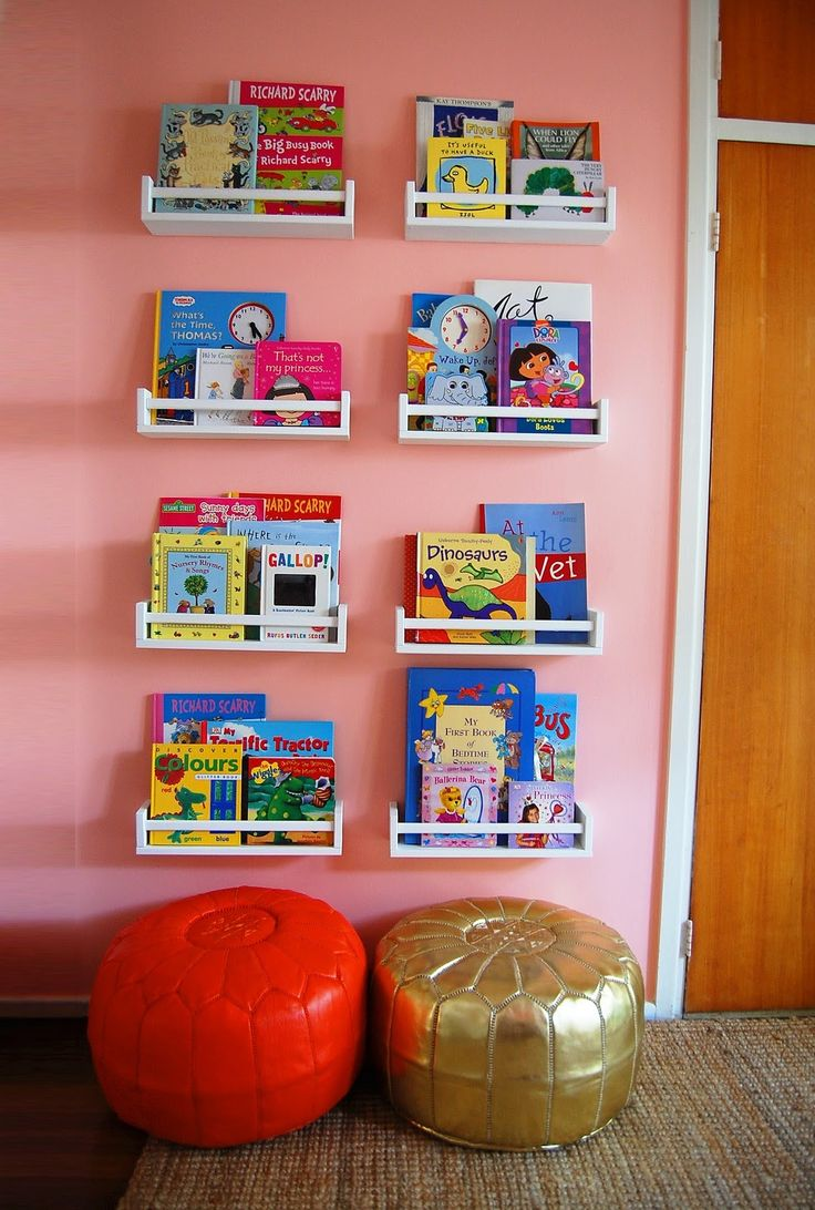 Ikea Spice Racks = Book Storage Our daughter loves hers, really has encouraged her to read as we have them on the wall by her bed :)