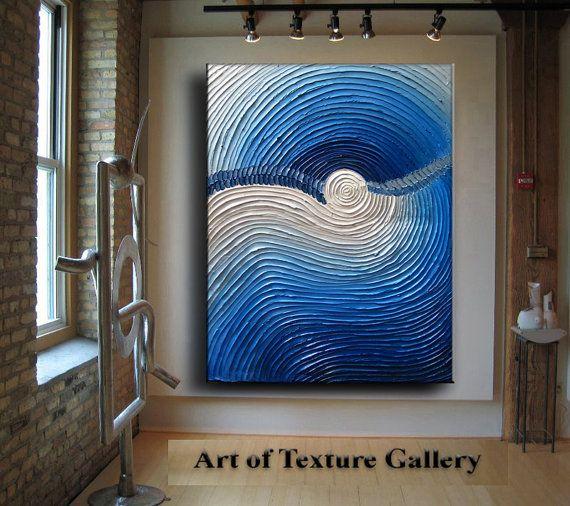 36 x 48 Huge Custom Original Abstract Heavy Impasto Metallic Texture Blue Silver White Oil Painting by Je Hlobik
