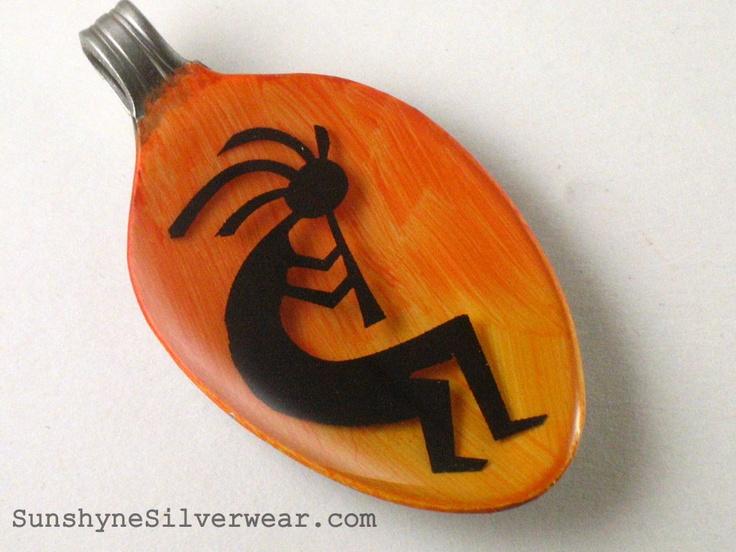 Kokopelli - Orange by Sunshyne Silverwear ~ Recycled Spoon Pendants...and MORE!