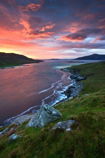 Island of Scarp from cliffs of North Harris, Scotland.