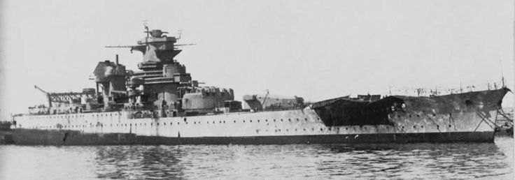 13.8 in battleship Jean Bart: incomplete in 1940, she fled to French North Africa where there were no facilities to finish her.  In November 1942 under Vichy control she disputed the allied landings, USS Massachusetts putting paid to that with the 16 in damage seen here.  Completed post war, she had a short operational career in the 1950s.