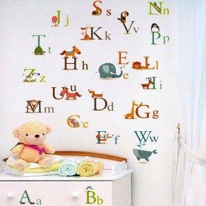 Dětské samolepky na zeď: tvary a písmena