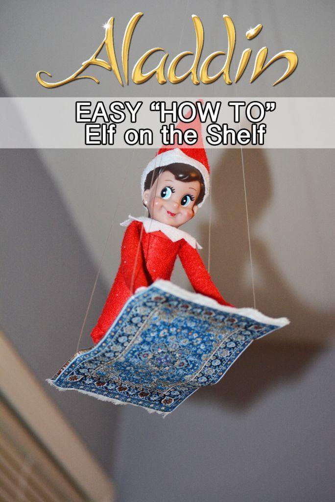 Elf on the Shelf Aladdin Flying Carpet! PLUS tons of other Elf on the Shelf Ideas! www.enzasbargains.com/elf-on-the-shelf-aladdin-flying-carpet/