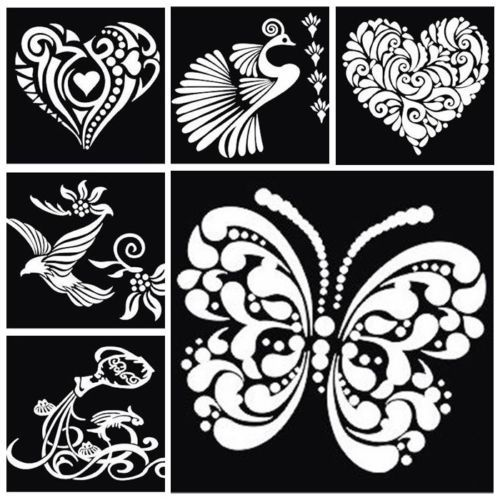 2 NEW Tattoo Airbrush stencil Glitter temporary body art Henna/Mehndi Art