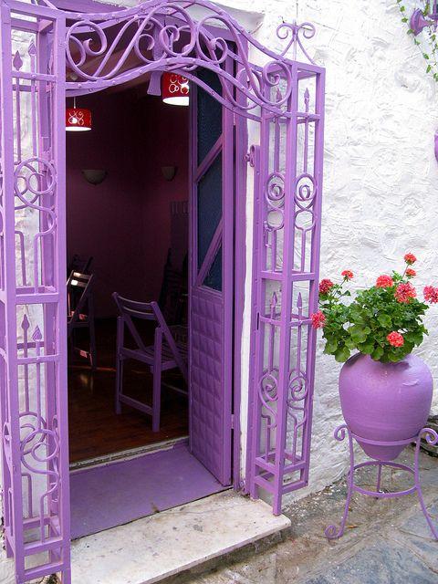 Purple door and arch way in Bodrum, Turkey