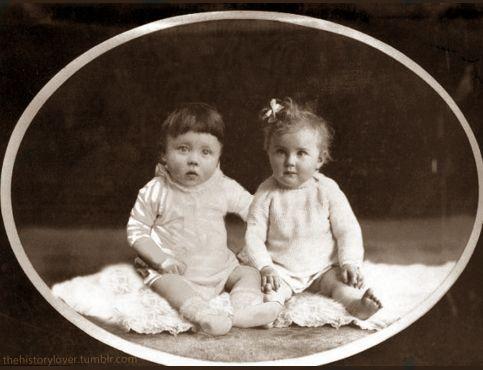 Adolf Hitler and Eva Braun sitting together as babies. (My ...