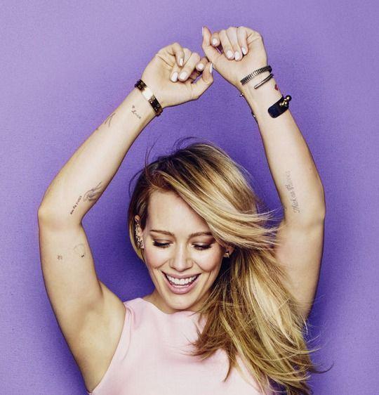Hilary Duff arm tattoos - Cosmopolitan magazine shoot