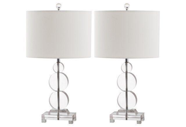 Moira Table Lamp Set, Crystal/Chrome