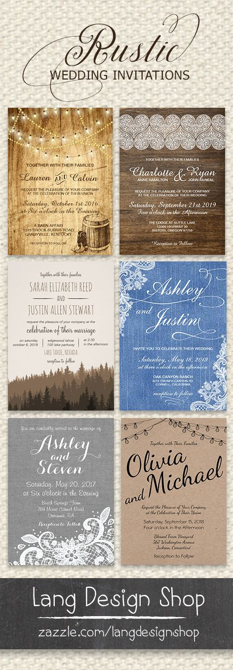 Rustic wedding invitations in multiple styles, colors, and extras to make your collection complete --> check out the designs by LangDesignShop, customize online, and print on demand via Zazzle.