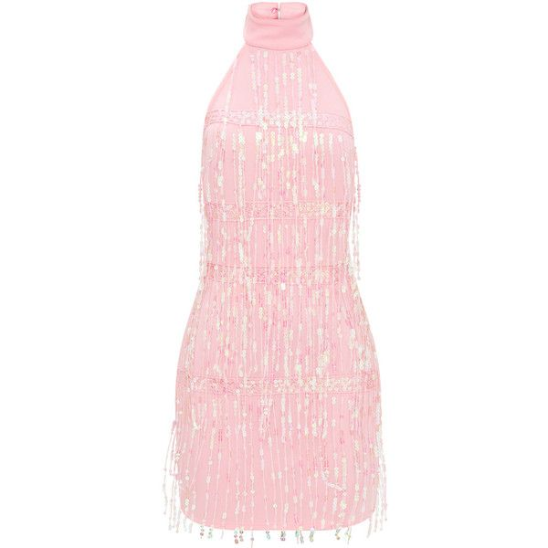 Pale Pink Tassel Sequin Bodycon Dress (1,110 MXN) ❤ liked on Polyvore featuring dresses, tassel dress, pink body con dress, bodycon dresses, pink dress and pink sequin dress