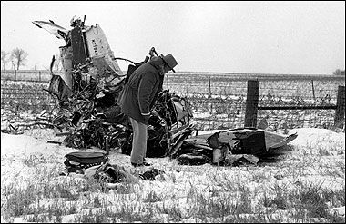 """""""The Day the Music Died"""" - wreckage from the plane crash that killed Buddy Holly, Ritchie Valens, and J. P. """"the Big Bopper"""" Richardson, near Clear Lake, Iowa, February 3, 1959"""