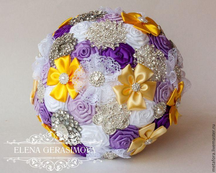Купить Брошь букет невесты СИРЕНЕВЫЙ С ЖЕЛТЫМ - букет невесты, букет для невесты
