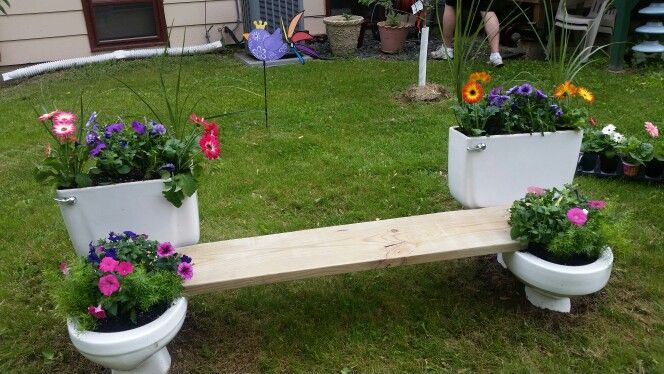 Our new fire pit bench two toilets and a 2x12 flower for Flower fire pit