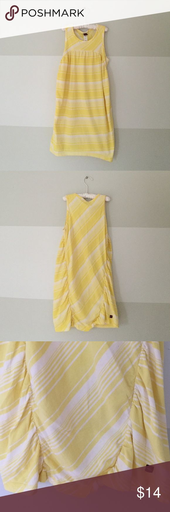 Tea Collection Yellow Striped Dress Light yellow and white striped sleeveless dress. Gathering down back gives dress shape. No stains or signs of wear. Tea Collection Dresses Casual