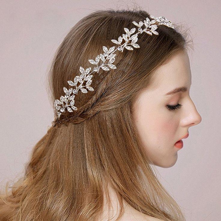 Clearine Damen Kristall Böhmisch Braut Olive Blatt Romantik Verformbar Haarband Haarschmuck: AmazonSmile: Schmuck