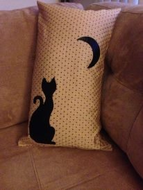 Appliqued Black Cat pillow by StoryBookLife on Etsy, $20.00
